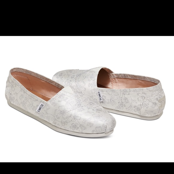 0ec214f1a16c Toms Shoes | Ivory With Silver Floral Print | Poshmark